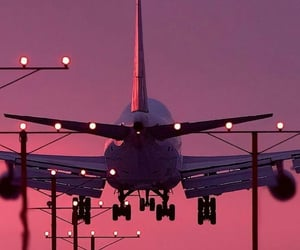 airplane, pink, and travel image