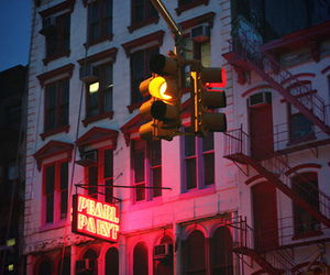 fire escape, neon, and street light image