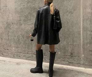 black leather jacket, knee high boots, and everyday look image