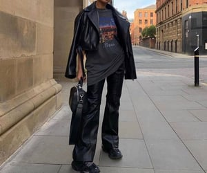 streetwear, black leather pants, and graphic tee shirt image