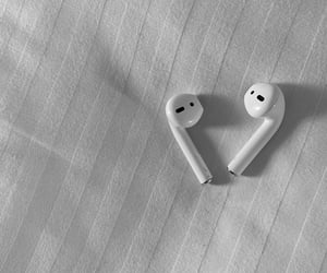 aesthetics, earbuds, and airpods image