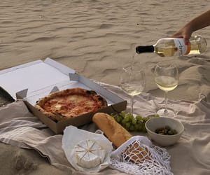 pizza, sand, and beach image