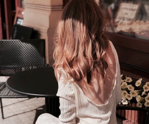 hair, cafe, and fall image