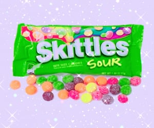 candy, glitter, and skittles image