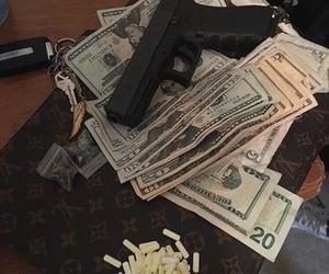 money, gun, and aesthetic image