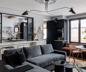 apartment, black, and living room image