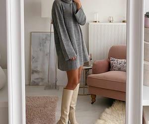blogger, grey dress, and street style fashion image