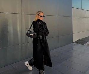 black coat, black turtleneck, and everyday look image