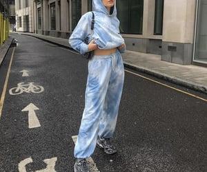 blue hoodie, everyday look, and grey sneakers image