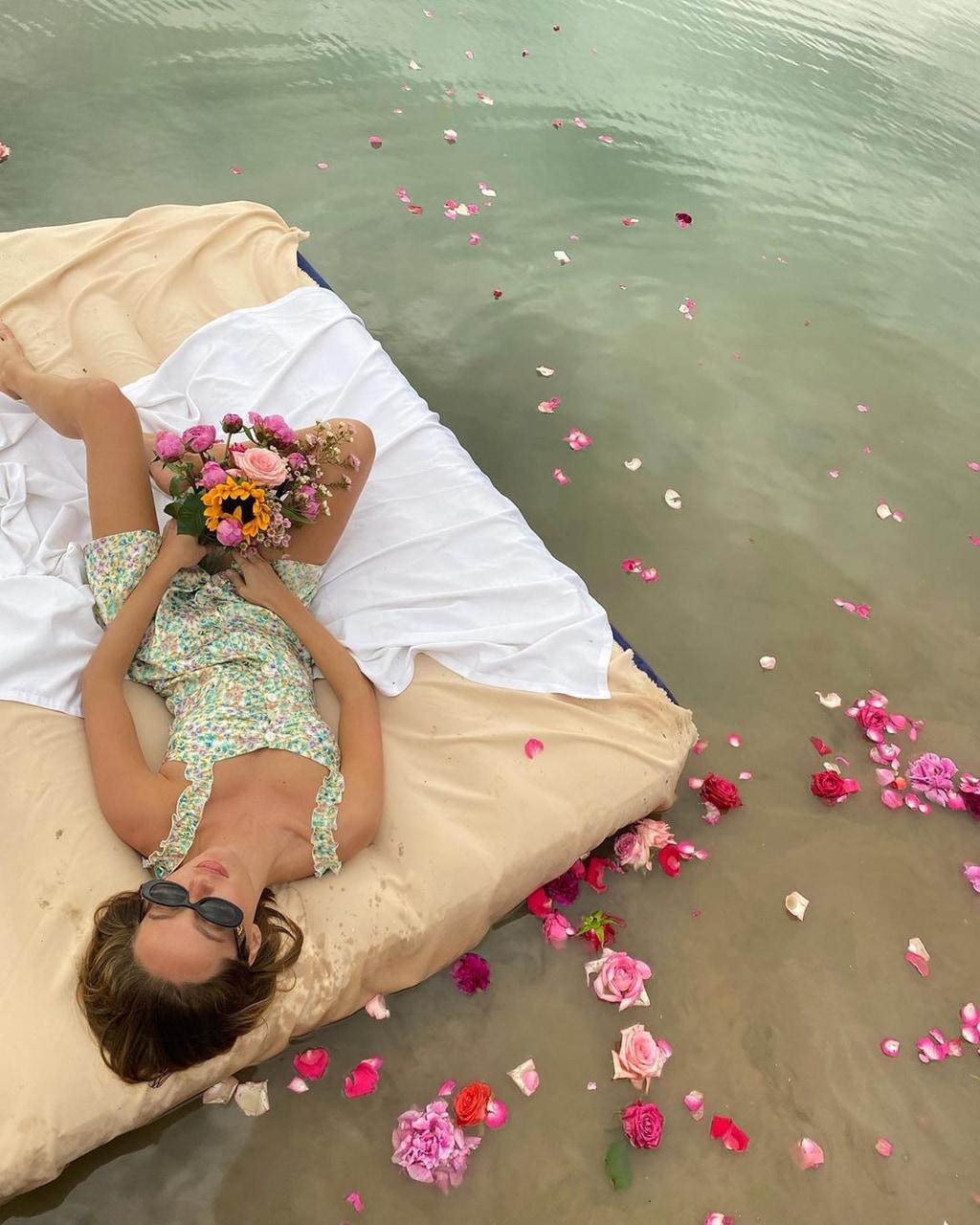 dress, flowers, and lake image