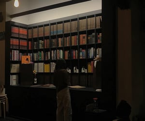 library, aesthetic, and dark image