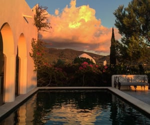 pool, sunset, and aesthetic image