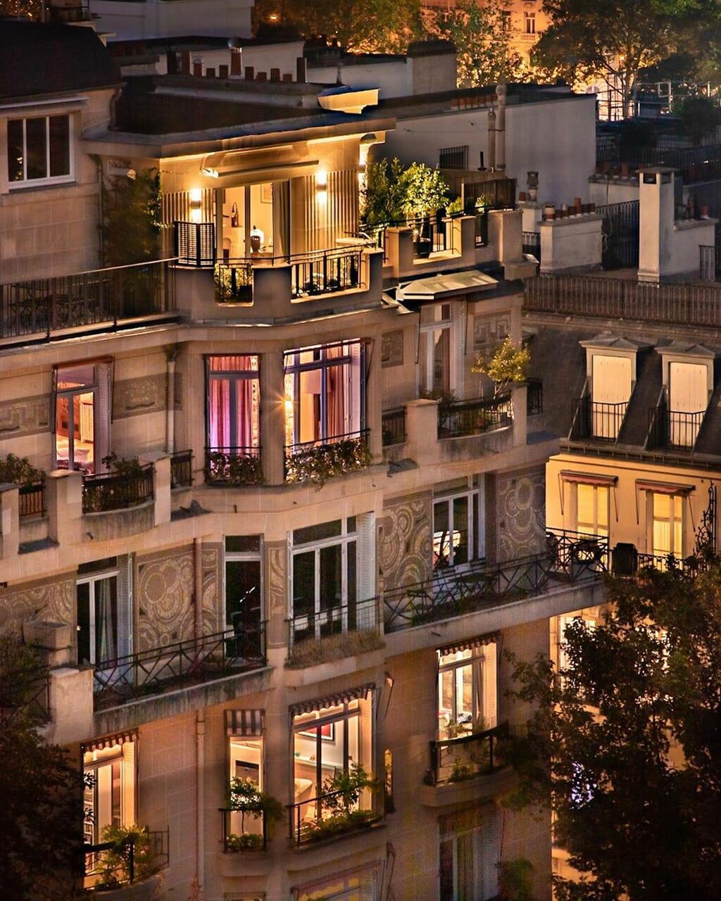 building, night, and paris image