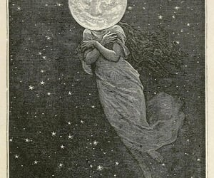 moon, stars, and woman image