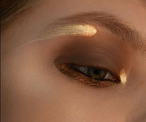 makeup, gold, and eye image