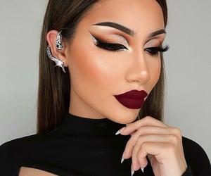 burgundy, glam, and make up image