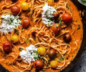 pasta, grape tomato, and burrata cheese image