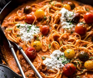 pasta, burrata cheese, and roast red pepper image