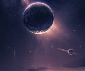 sky, planet, and stars image