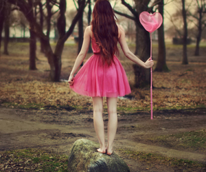 girl, pink, and heart image