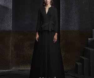 beading, black dress, and long dress image