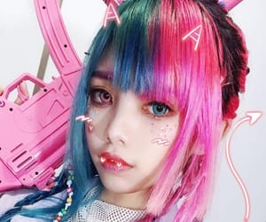 dyed hair, pretty girl, and pink hair image