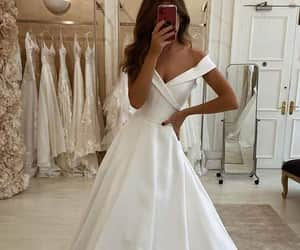 satin, wedding day, and wedding dress image