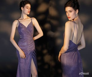 formal wear, shiny party dress, and open back image