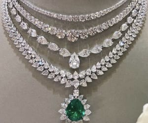 diamonds, emerald, and necklace image