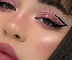 pink, makeup, and eyeliner image