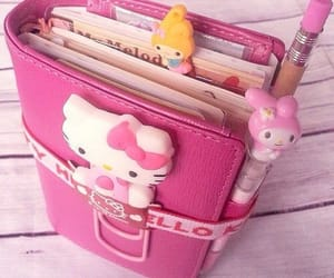 hello kitty, notebook, and sanrio image