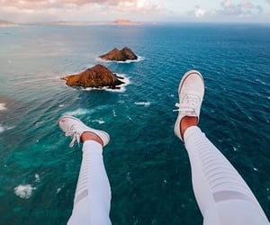 ocean, shoes, and sea image