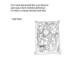 drawing, quote, and women image