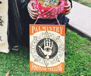 creepy, fortune teller, and palm reading image