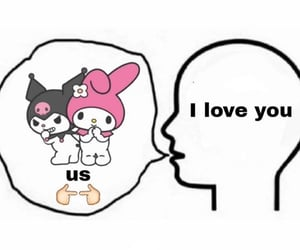 kuromi, my melody, and reaction pic image