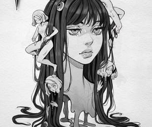 girl, illustration, and spooky image