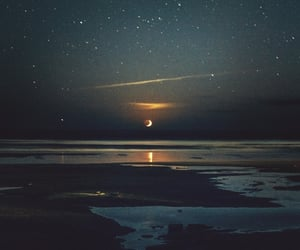 beach, moon, and stars image