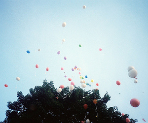 balloons, sky, and tree image