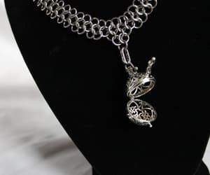 chain mail, pendant necklace, and silver necklace image