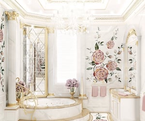 rose, bathroom, and flowers image