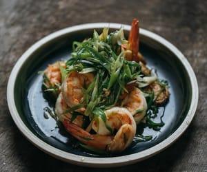 chinese food, ginger, and prawn image