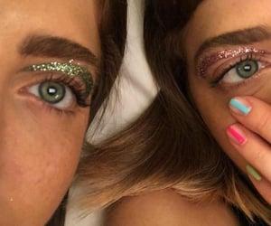 green, makeup, and pink image
