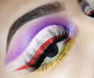 eyeliner, lashes, and morado image