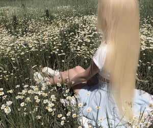 aesthetic, field, and flower girl image