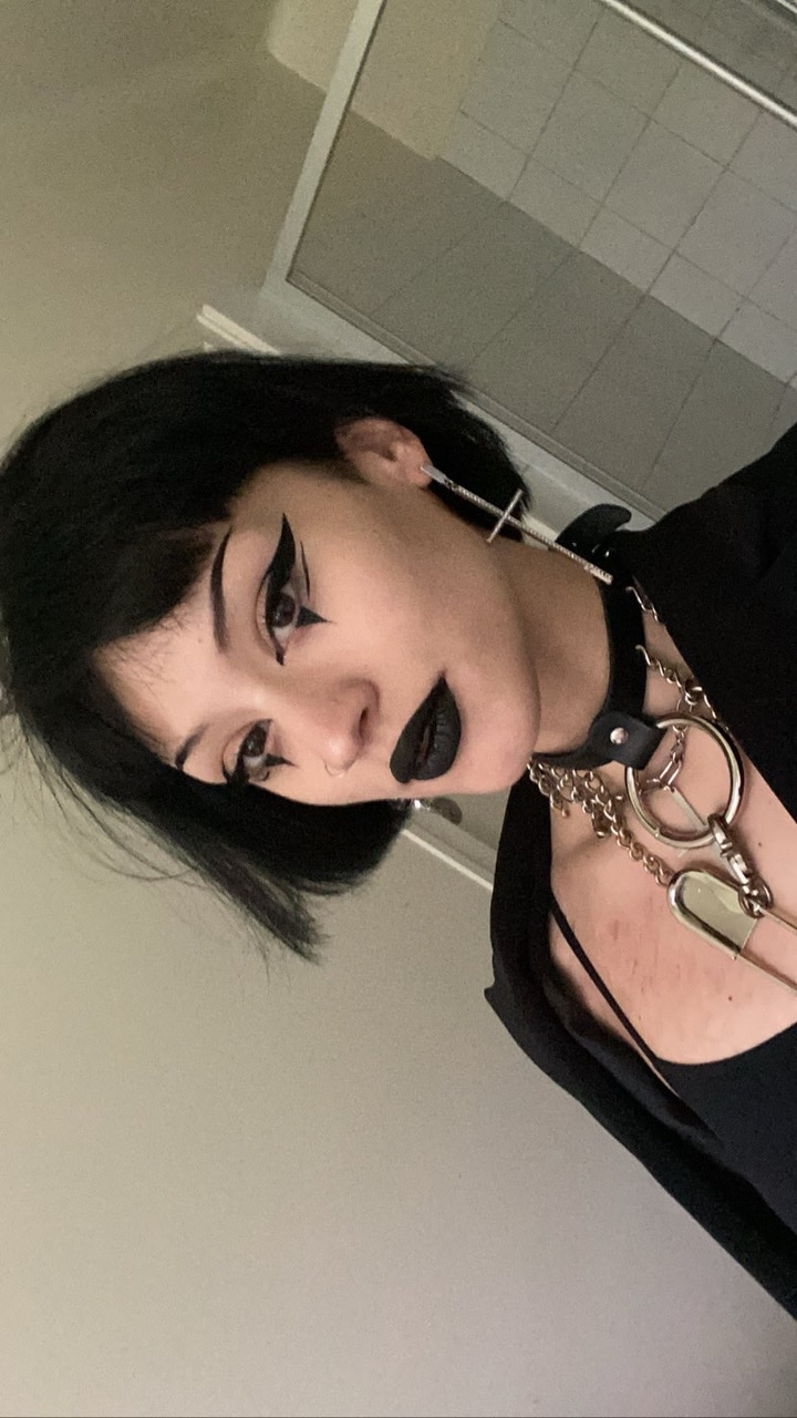 black, makeup, and outfit image