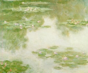 art, claude monet, and flowers image