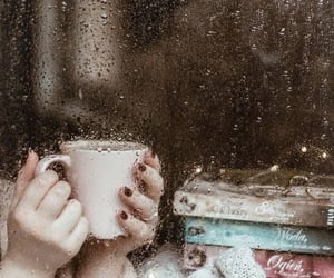 rain, book, and coffee image