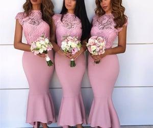 pink bridesmaid dress, 2021 bridesmaid dresses, and lace bridesmaid dress image