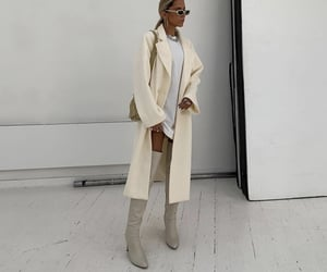 knee high boots, white shirt dress, and accessories sunglasses image