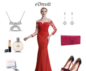 long sleeves, formal party wear, and red evening dress image